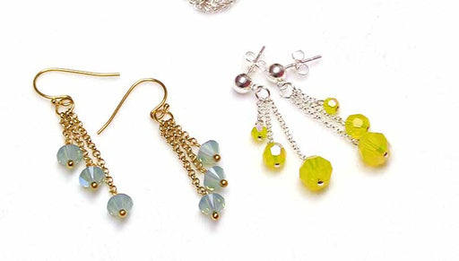 How to Make Chain Drop Earrings with Swarovski Crystal Opal Shimmer Beads