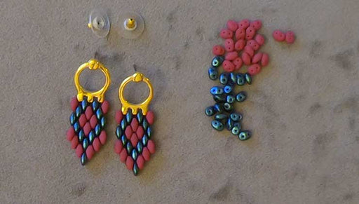 How to Make the Odessa Earrings featuring Cymbal Earring Posts for SuperDuo Beads