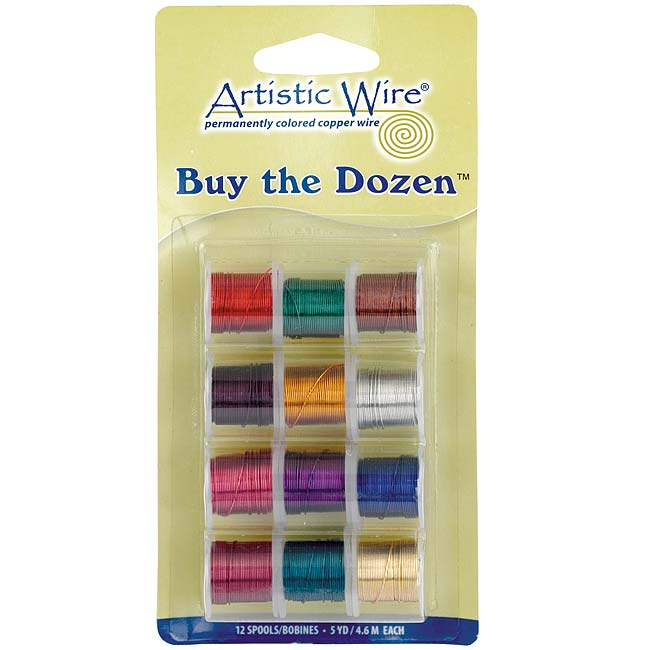Artistic Wire 12 Pack Craft Wire Variety Pack - Multi-Color Tarnish Resistant 26 Gauge (12 Pack)