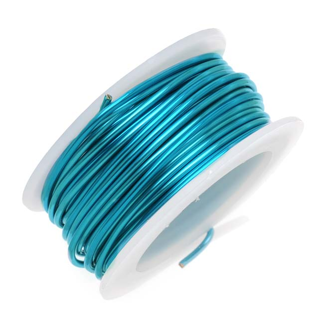 Artistic Wire, Silver Plated Craft Wire 20 Gauge Thick, 6 Yard Spool, Peacock Blue