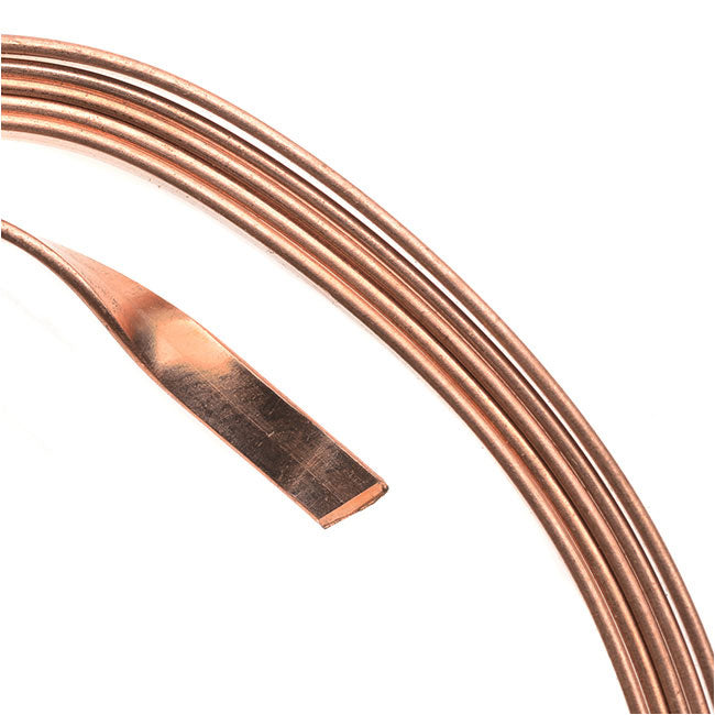 Artistic Wire, Flat Craft Wire 3mm 21 Gauge Thick, 3 Foot Coil, Bare Copper