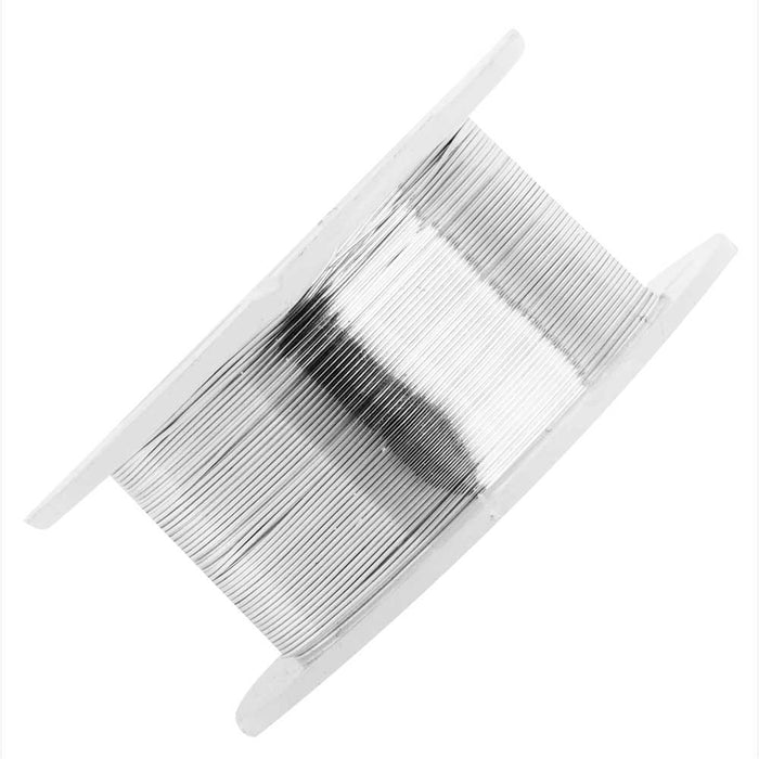 Artistic Wire, Silver Plated Craft Wire 28 Gauge Thick, 15 Yard Spool, Tarnish Resistant Silver