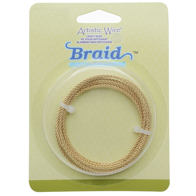 Artistic Wire, Braided Craft Wire 12 Gauge Thick, 5 Foot Coil, Tarnish Resistant Brass