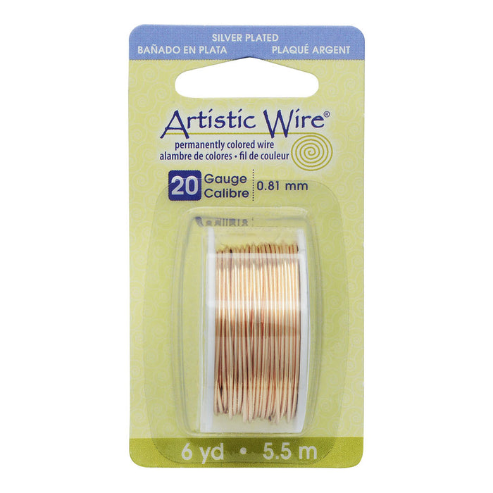 Artistic Wire, Silver Plated Craft Wire 20 Gauge Thick, 6 Yard Spool, Gold Color