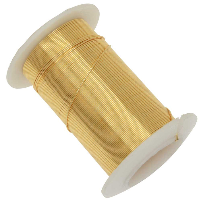 Wire Elements, Tarnish Resistant Gold Color Copper Wire, 24 Gauge 30 Yards (27.4 Meters)