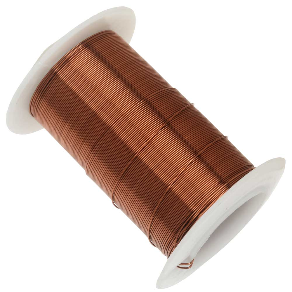 Wire Elements, Tarnish Resistant Antique Copper Wire, 26 Gauge 34 Yards (31 Meters)