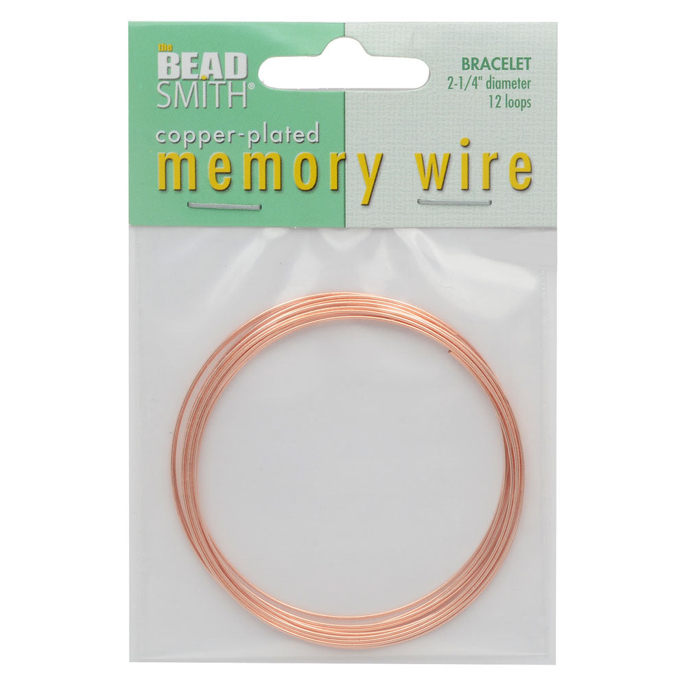 Memory Wire, Bracelet Round Size Medium 2.25 Inch Diameter, 12 Loops, Copper Plated