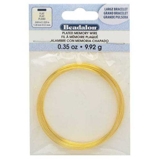 Memory Wire, Bracelet Round Flat Wire Size Medium 2.25 Inch Diameter, 12 Loops, Gold Plated