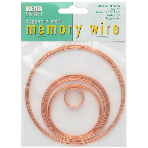 The Beadsmith Assorted Memory Wire Variety Pack - Copper Plated - 10 Loops Per Size
