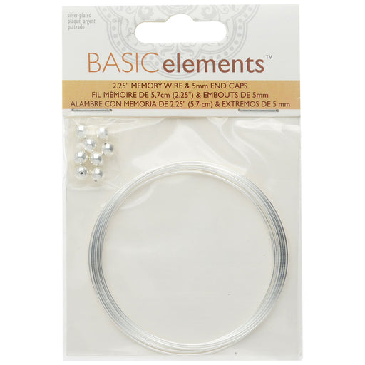 Memory Wire And End Caps Set, Bracelet Round Size Medium 2.25 Inch Diameter, 12 Loops, Silver Plated