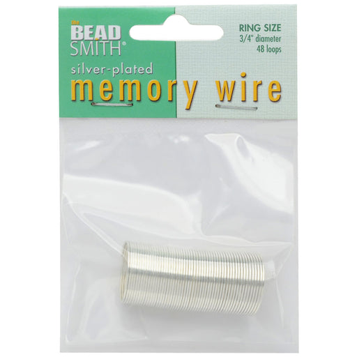 Memory Wire, Ring Round 0.75 Inch Diameter, 48 Loops, Silver Plated