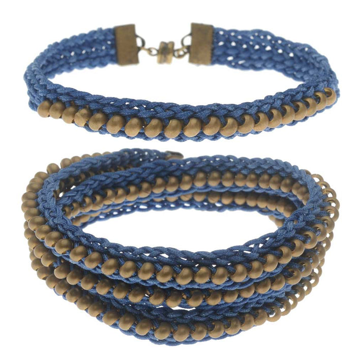 Refill - Beaded Flat Kumihimo Bracelet Set - Blue/Antique Brass - Exclusive Beadaholique Jewelry Kit