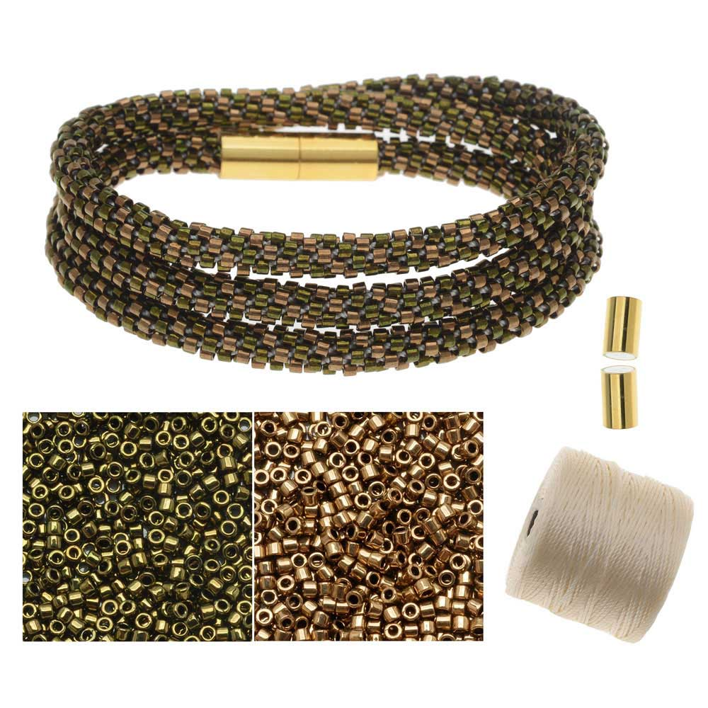 Refill - Beaded Kumihimo Wrap Bracelet Kit-Brnz/Grn - Exclusive Beadaholique Jewelry Kit