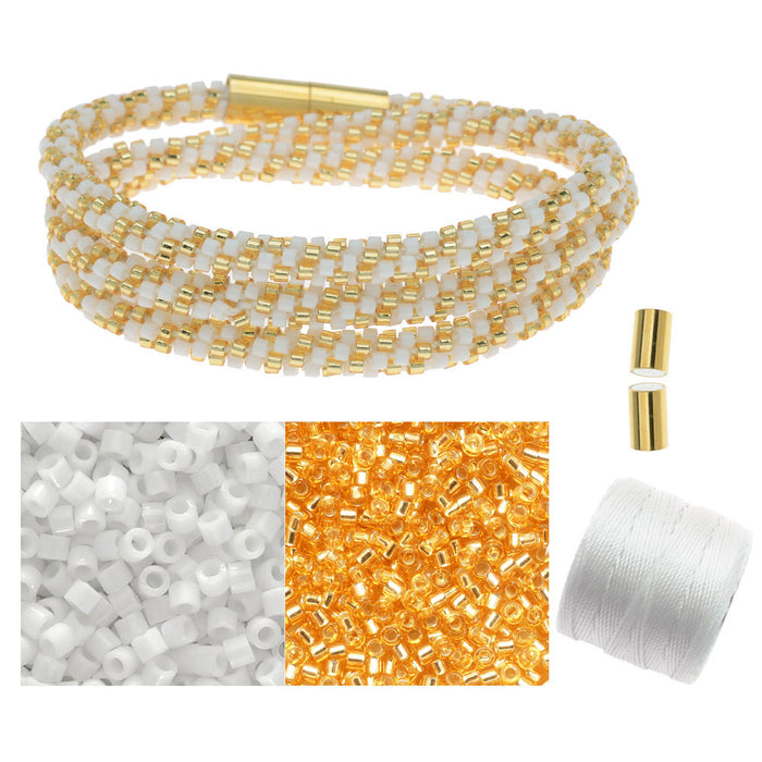 Refill - Beaded Kumihimo Wrap Bracelet Kit-Gold/Wht - Exclusive Beadaholique Jewelry Kit