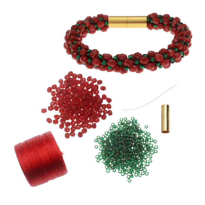Refill - Deluxe Spiral Beaded Kumihimo Bracelet - Christmas Joy - Exclusive Beadaholique Jewelry Kit