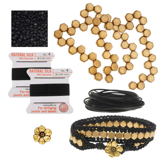 Refill - Honeycomb Double Wrapped Loom Bracelet - Black & Gold - Exclusive Beadaholique Jewelry Kit