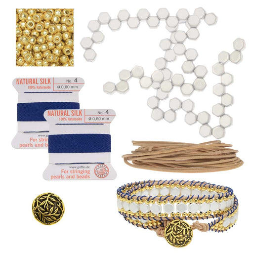 Refill - Honeycomb Double Wrapped Loom Bracelet - Blue & White - Exclusive Beadaholique Jewelry Kit