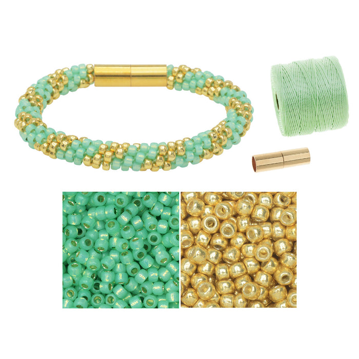 Refill - Splendid Spiral Kumihimo Bracelet in Mint and Gold - Exclusive Beadaholique Jewelry Kit