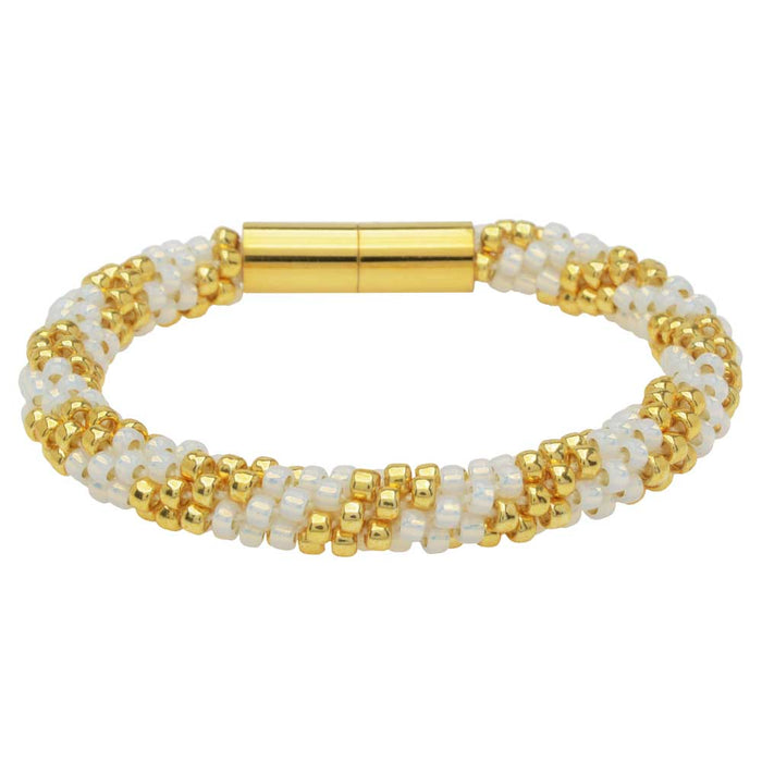 Refill - Splendid Spiral Kumihimo Bracelet in White and Gold - Exclusive Beadaholique Jewelry Kit