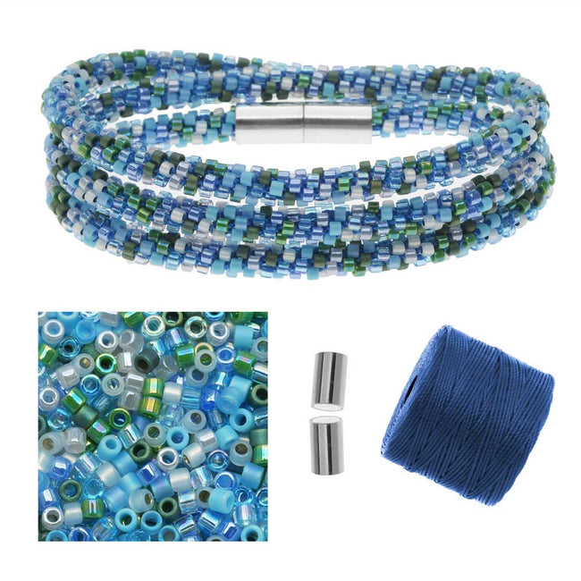 Refill - Beaded Kumihimo Wrap Bracelet Kit-Blue Tone - Exclusive Beadaholique Jewelry Kit