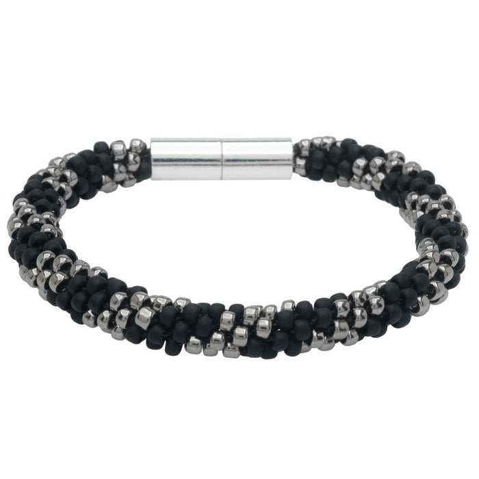 Refill - Splendid Spiral Kumihimo Bracelet in Black and Silver - Exclusive Beadaholique Jewelry Kit