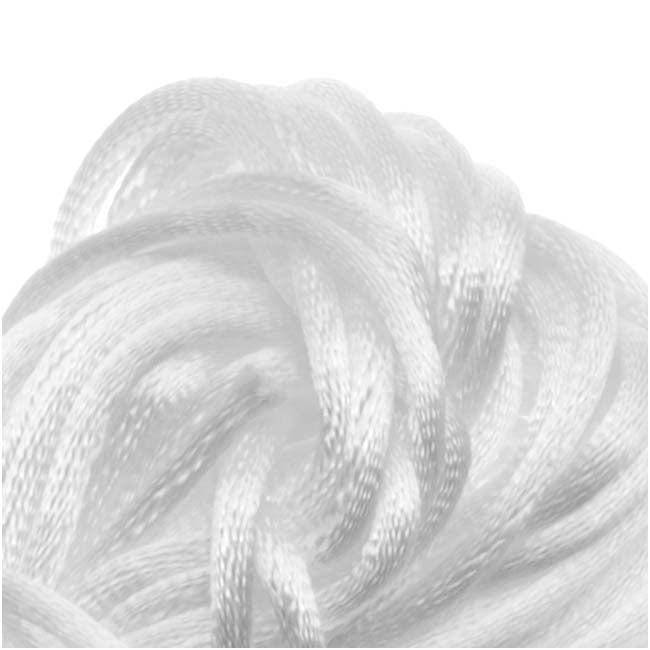 Rayon Satin Rattail 1mm Cord - Knot & Braid - White (6 Yards)
