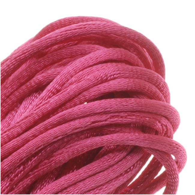 Rayon Satin Rattail 1mm Cord - Knot & Braid - Hot Pink (6 Yards)