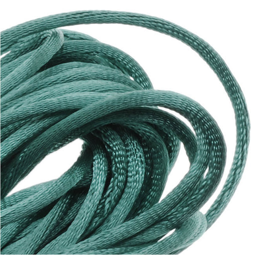Rayon Satin Rattail 1mm Cord - Knot & Braid - Teal Green (6 Yards)
