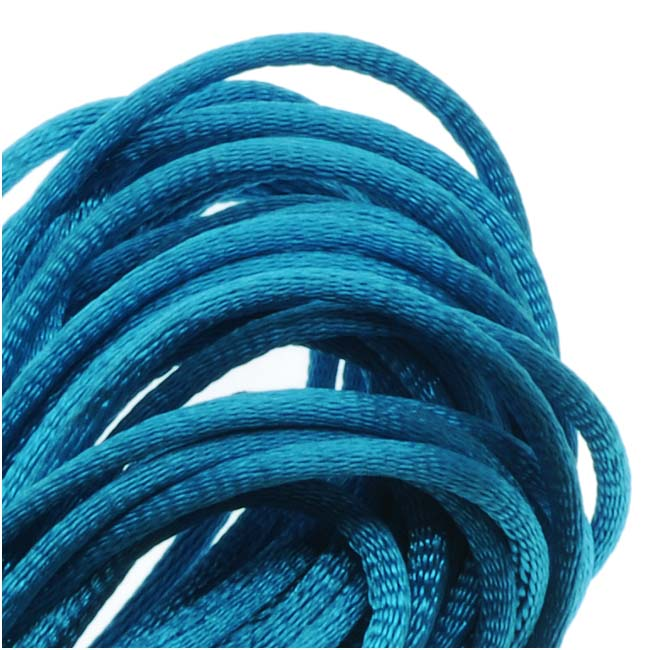 Rayon Satin Rattail 1mm Cord - Knot & Braid - Dark Turquoise Blue (6 Yards)