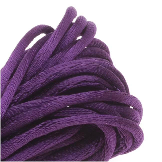Rayon Satin Rattail 1mm Cord - Knot & Braid - Purple (6 Yards)
