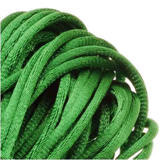 Final Sale - Rayon Satin Rattail 1mm Cord - Knot & Braid - Kelly Green (6 Yards)