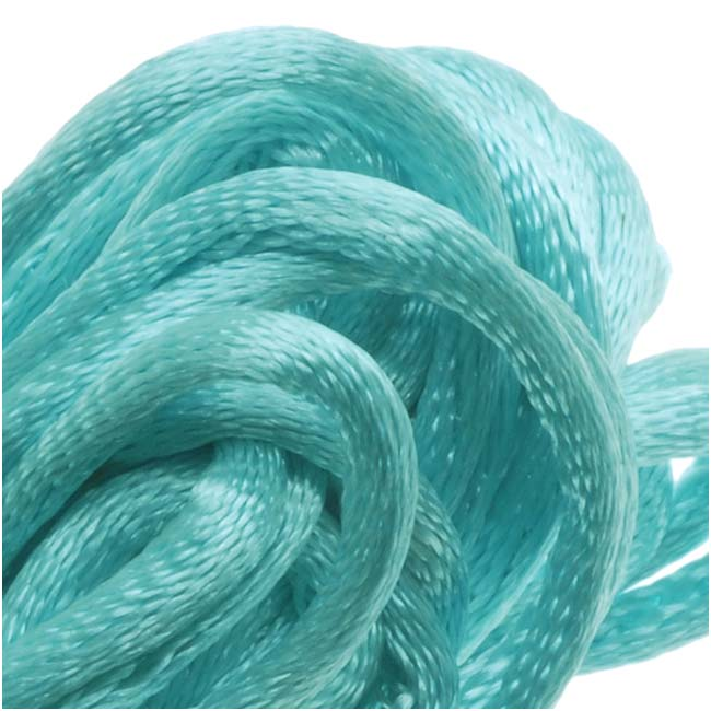 Final Sale - Rayon Satin Rattail 2mm Cord - Knot & Braid - Aqua Blue (6 Yards)