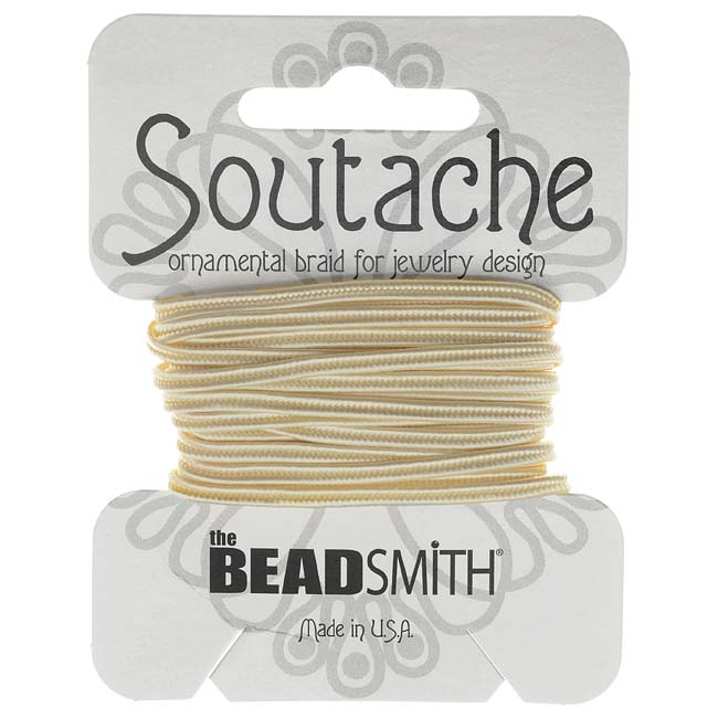 The Beadsmith Soutache Braided Cord 3mm Wide - Linen White (3 Yard Card)