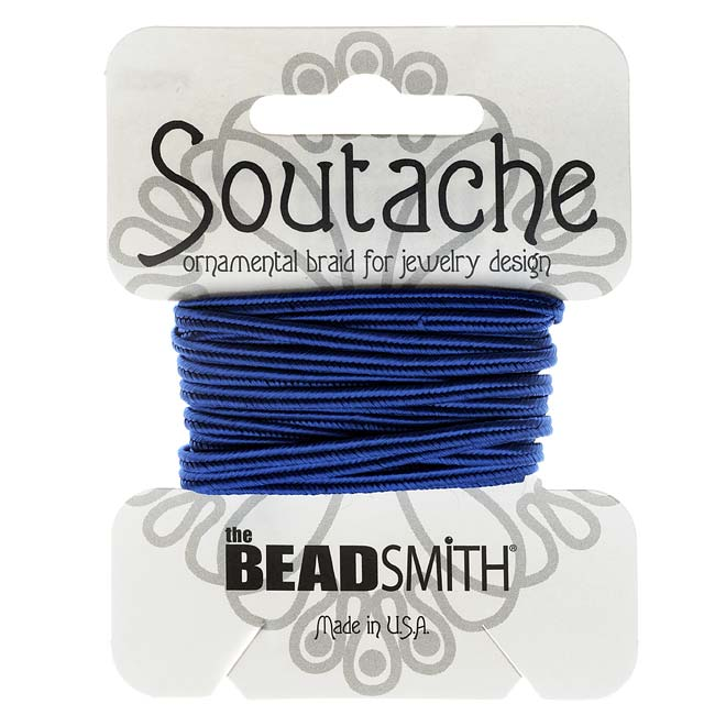 The Beadsmith Soutache Braided Cord 3mm Wide - Royal Blue (3 Yard Card)