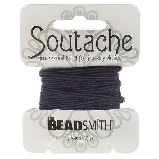 The Beadsmith Soutache Braided Cord 3mm Wide - Navy Blue (3 Yard Card)