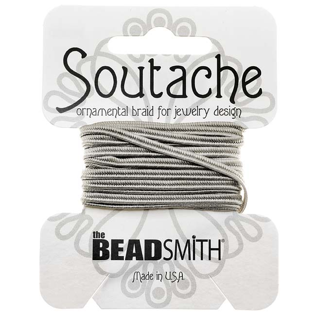 The Beadsmith Soutache Braided Cord 3mm Wide - Silver Gray (3 Yard Card)