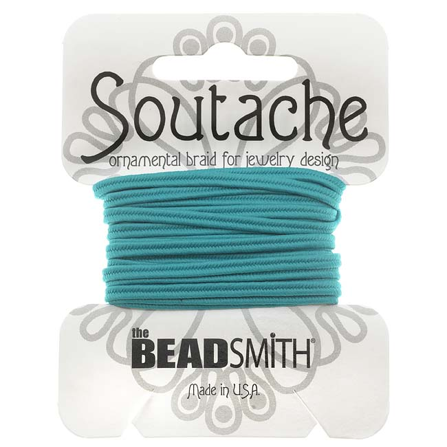 The Beadsmith Soutache Braided Cord 3mm Wide - Aqua Blue (3 Yard Card)