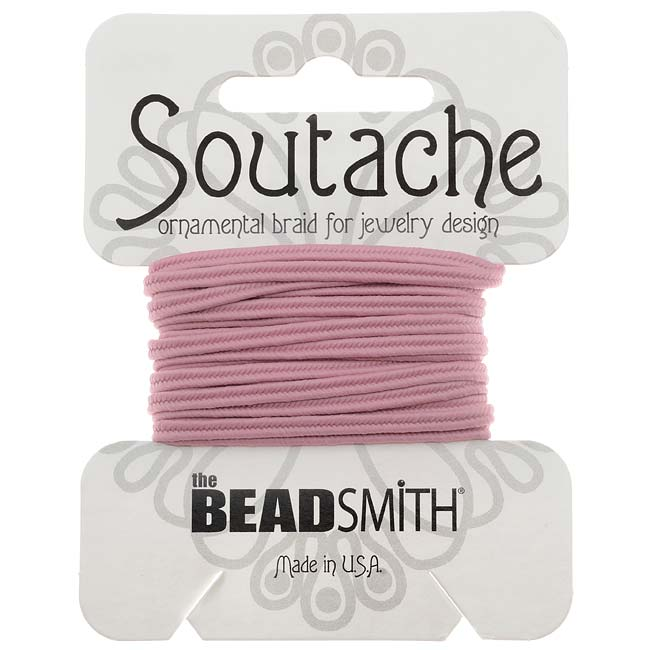The Beadsmith Soutache Braided Cord 3mm Wide - Mauve Pink (3 Yards)