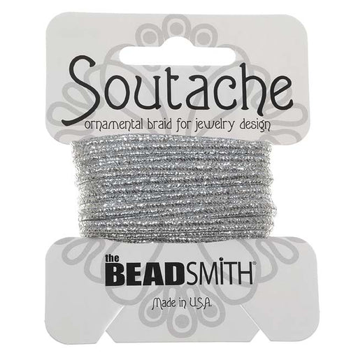 The Beadsmith Textured Metallic Soutache Braided Cord 3mm Wide - Silver (3 Yards)