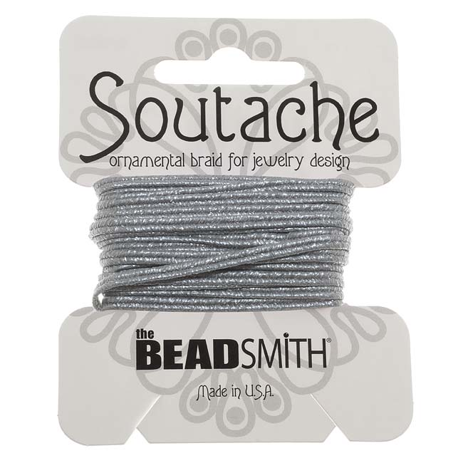 The Beadsmith Textured Metallic Soutache Braided Cord 3mm - Matte Silver (3 Yards)