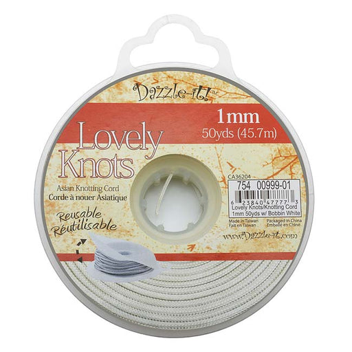 Lovely Knots - Asian Knotting Cord 1mm Thick - White (50 Yards On Bobbin)