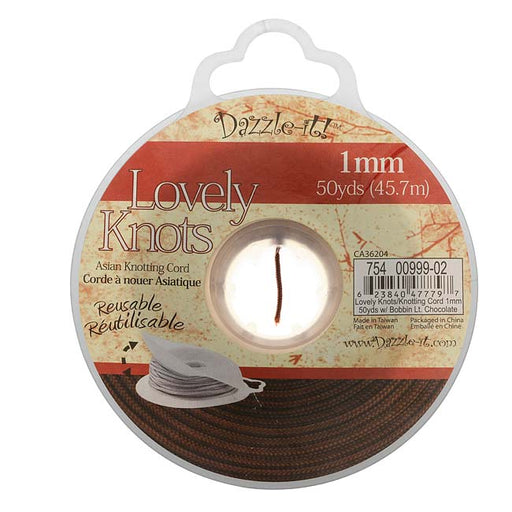 Lovely Knots - Asian Knotting Cord 1mm Thick - Lt Chocolate (50 Yards On Bobbin)