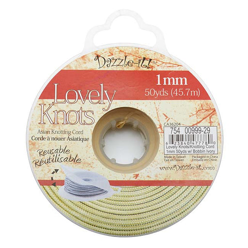 Lovely Knots - Asian Knotting Cord 1mm Thick - Ivory (50 Yards On Bobbin)