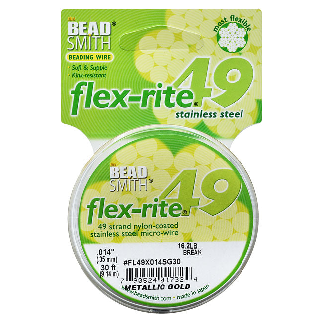 "BeadSmith Flex-Rite Beading Wire, 49 Strand .014"" Thick, 30 Foot Spool, Metallic Satin Gold"