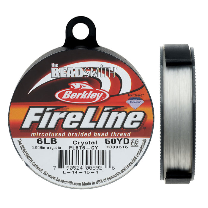 FireLine Braided Beading Thread, 6lb Test and 0.006 Thick, 50 Yards, Crystal Clear
