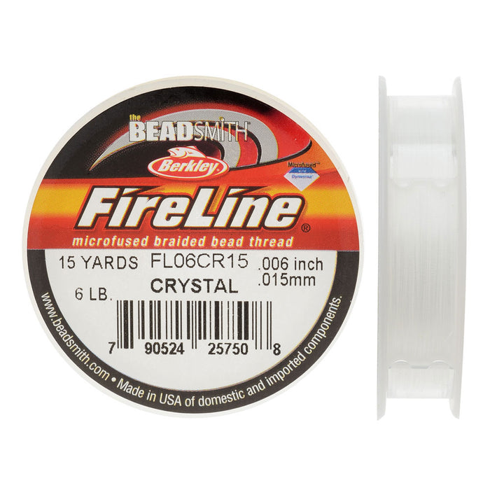 "FireLine Braided Beading Thread, 6lb Test and 0.006"" Thick, 15 Yard Mini Spool, Crystal Clear"