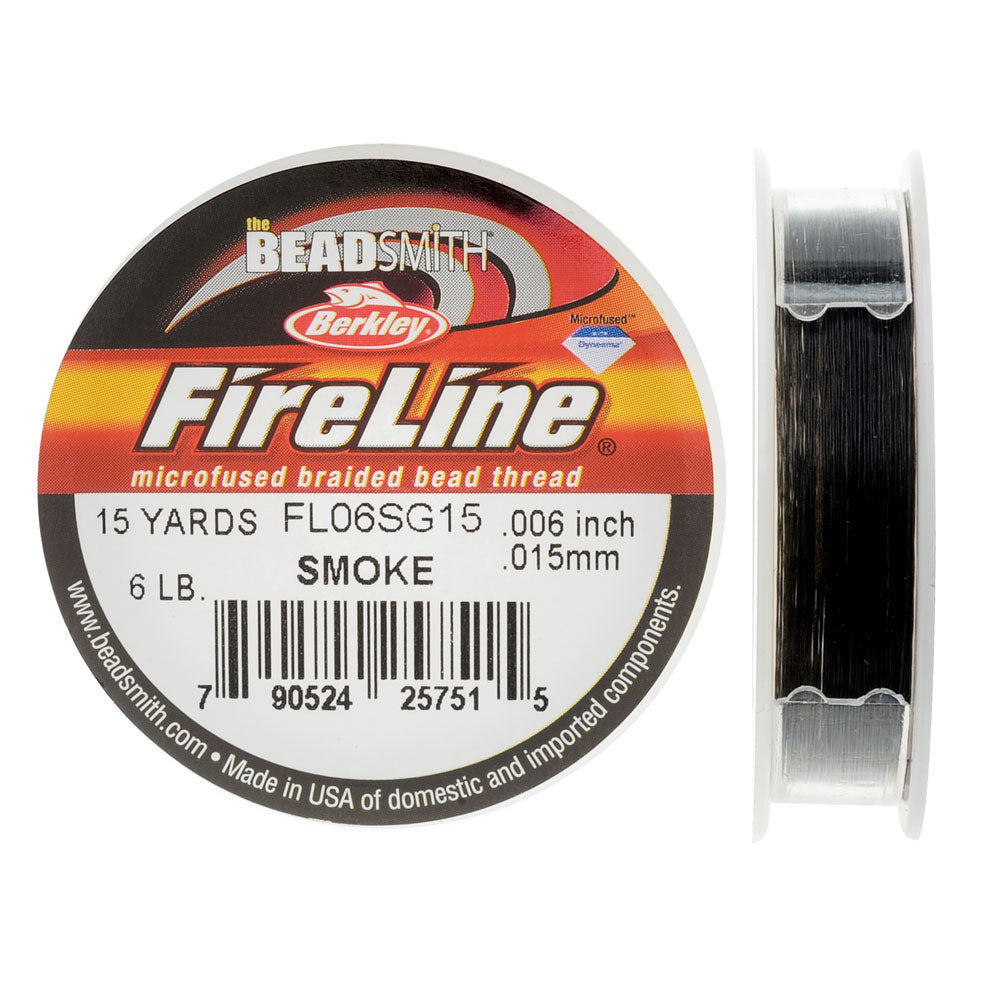 "FireLine Braided Beading Thread, 6lb Test and 0.006"" Thick, 15 Yard Mini Spool, Smoke Gray"