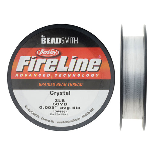 "FireLine Braided Beading Thread, 2lb Test and 0.003"" Thick, 50 Yard Spool, Crystal Clear"