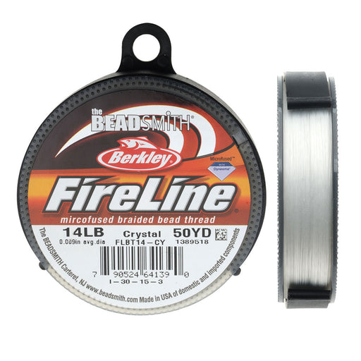"FireLine Braided Beading Thread, 14lb Test and 0.009"" Thick, 50 Yard Spool, Crystal Clear"