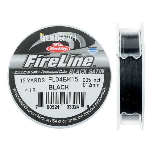 "FireLine Braided Beading Thread, 4lb Test Weight and .005"" Thick, 15 Yard Spool, Black Satin"